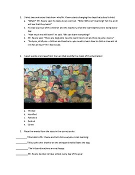 A Fine, Fine School Reading Questions FSA format- mulitselect, sequence
