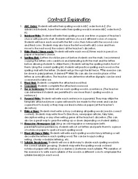 A Fine, Fine School Spelling Contract