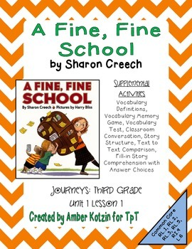 A Fine, Fine School Supplemental Activities 3rd Grade Journeys Unit 1, Lesson 1