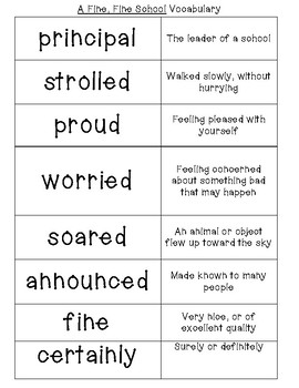 A Fine, Fine School Vocabulary Cards with Definitions