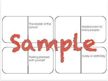 A Fine, Fine School Vocabulary Dominos-- Journeys Grade 3 Unit 1: Lesson 1