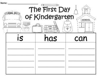 A+  First Day Of Kindergarten ... Three Graphic Organizers