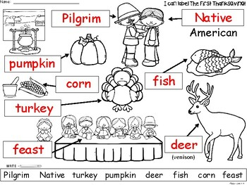 A+ First Thanksgiving Labels: Labeling The Holiday