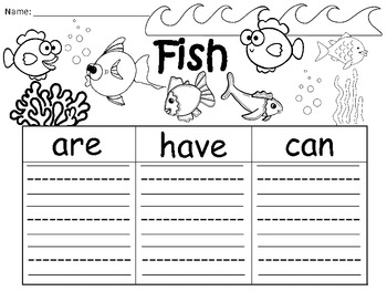 A+  Fish (Plural) ... Three Graphic Organizers