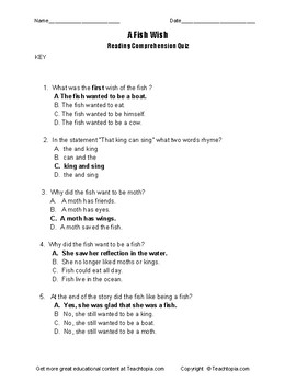 A Fish Wish Benchmark Advance Reading Comprehension Quiz for first grade