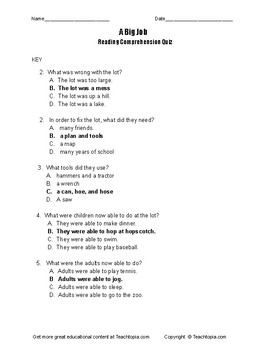 A Big Job Benchmark Advance Reading Comprehension Quiz for first grade