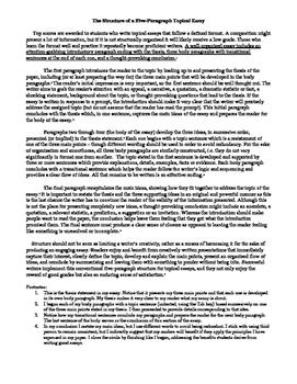 A Five-Paragraph Essay Explanation/Model/Outline