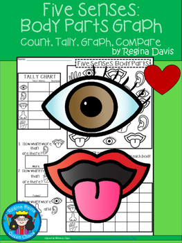 A+ Five Senses: Body Parts... Count, Tally, Graph, and Compare