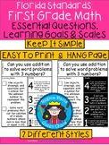 A+ Florida Standards: 1st Grade Math Essential Questions,Learning Goals & Scales