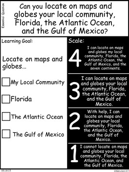 A+ Florida Standards:Social Studies Essential Question,Learning Goal & Scale 1st