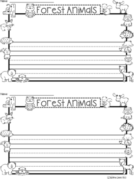 A+ Forest Animals ... Writing Paper