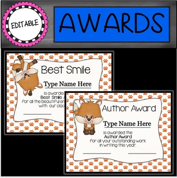 EDITABLE Foxy End of the Year Awards