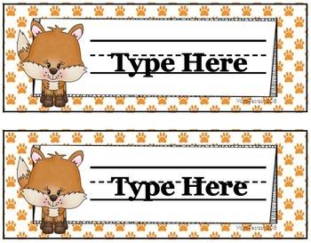 Editable Foxy Name Plate Set