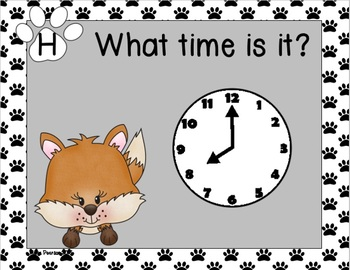 Foxy Time to the Hour and Half Hour Task Cards