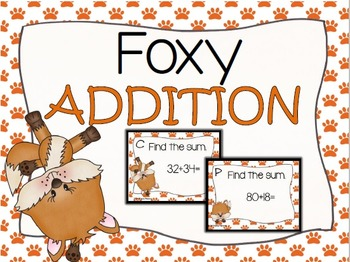 Foxy Two Digit Addition Task Cards (without regrouping)