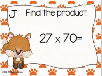 Foxy Two Digit Multiplication Task Cards