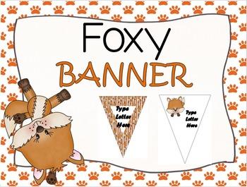 EDITABLE Foxy Bunting/Banner