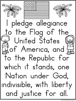 A+ Freebie: Pledge of Allegiance Poster And Writing