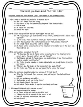 A Fresh Idea Assessment McGraw Hill (FSA Aligned) Main Idea and Interactions