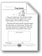A Frog Snack (Draw a Frog/Write Factual Sentences)