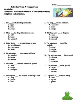 A Froggy Fable Vocabulary Match up and Selection Test Reading Street