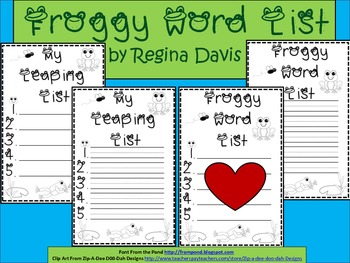 A+ Froggy Word List...Blank Writing Paper