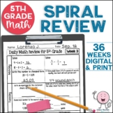 5th Grade Morning Work | 5th Grade Spiral Math Review | Year-Long Bundle