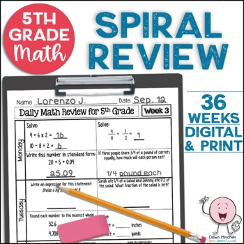 5th Grade Morning Work   5th Grade Spiral Math Review   Year-Long Bundle