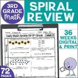 3rd Grade Math Spiral Review Morning Work Year-Long Bundle
