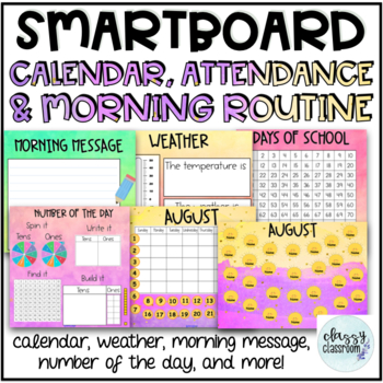 A Full Year of Attendance, Calendar & Morning Routine on the SmartBoard