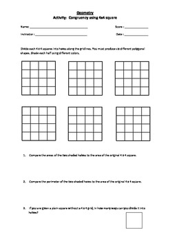 A Fun activity on Congruency Using 4 x 4 squares