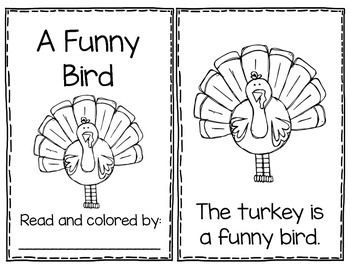 A Funny Bird - Thanksgiving Poem Mini Book