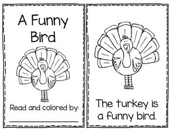 A Funny Bird - Thanksgiving Poem Mini Book