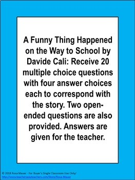 A Funny Thing Happened on the Way to School Book Unit