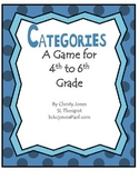 VOCABULARY 4-6th Grade - A GAME OF CATEGORIES