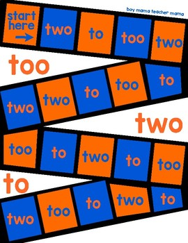 A Game for Practicing To, Two and Too