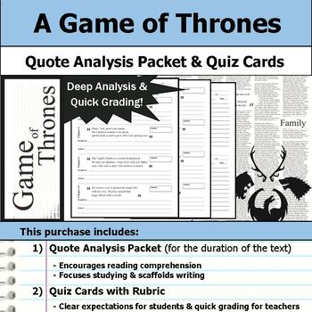 A Game of Thrones - Quote Analysis & Reading Quizzes