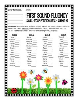 A Garden of First Sound Fluency: Lists For School and Home Practice (+ a Game!)
