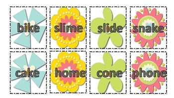 A Garden of Words: silent e and long vowel cards