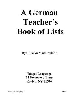 A German Teacher's Book of Lists