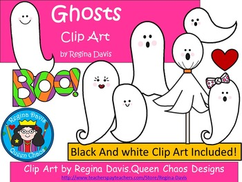 A+ Ghosts Clip Art...Color And Black And White Included