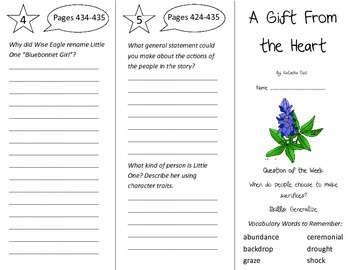 A Gift From the Heart Trifold - Reading Street 4th Grade Unit 6 Week 4