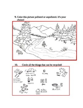 A Gift of Green- worksheet