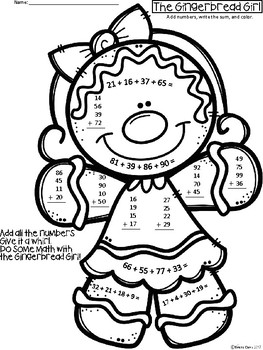 A+ Flash Freebie...Gingerbread Girl Addition: Adding Up To 4...2-Digit Numbers