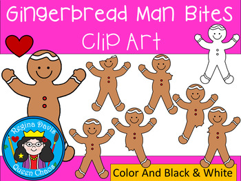 A+ Gingerbread Man Bites Clip Art...Color And Black And White Included