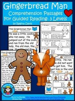 A+ Gingerbread Man Comprehension: Differentiated Instruction For Guided Reading