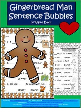 A+Gingerbread Man: Fill In the Blank.Multiple Choice Sight Word Sentences