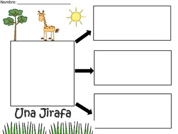 A+ Giraffe: La Jirafa...Three Spanish Graphic Organizers