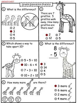 A+ Giraffe Math: Subtraction