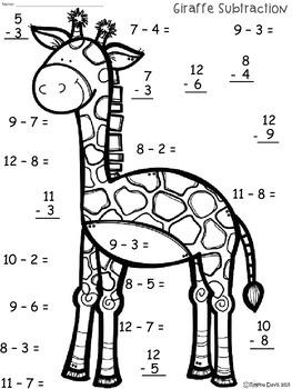 A+ Giraffe Subtraction Quick Math